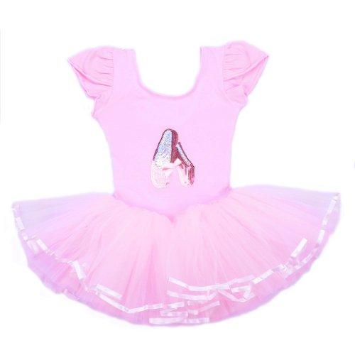 Bhl Girls Ballet Dresses 2-7Y Front Shoes Short Sleeve (4-5Y, Pink) front-27162