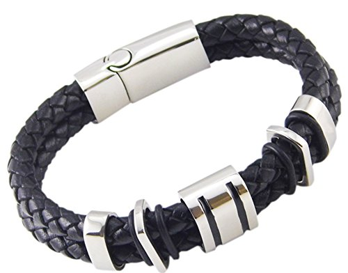 SaySure - Punk Rock 316L Stainless Steel Braided Leather Bracelet Bangles