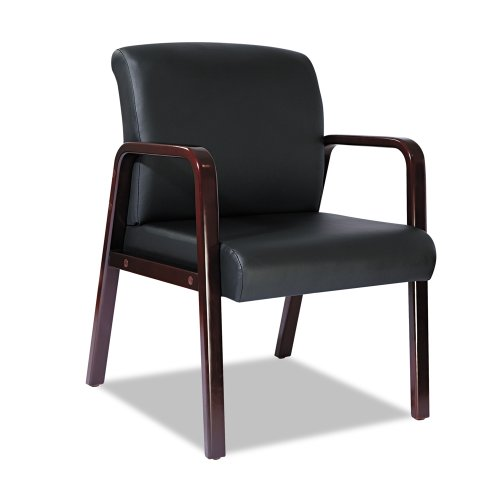 Alera Reception Lounge Series Ready-To-Assemble Guest Chair, Mahogany/Black Leather