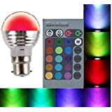 Lightahead® 16 Colors Changing Dimmable RGB LED Light Bulb with IR Remote Control for Home Decoration/Bar/Party/KTV Mood Ambiance Lighting (B-22 BASE) [Energy Class A+]