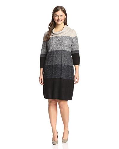 Sandra Darren Plus Women's Color Block Sweater Dress