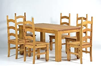 Table 160 x 90 + 6 x Tonal Honey Solid Pine Mexican Chair