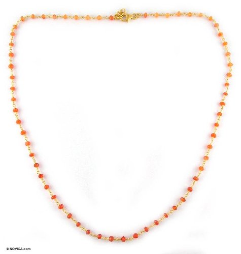 Gold vermeil carnelian strand necklace, 'Ginger'