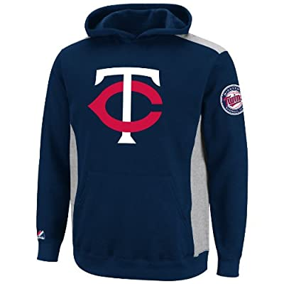MLB Minnesota Twins Lil Catcher Athletic Navy/Steel Heather Long Sleeve Hooded Youth Fleece Pullover