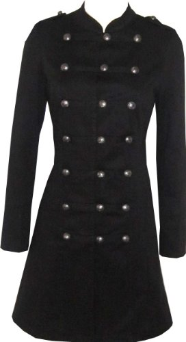 Victorian Black Gothic Military Long SteamPunk Indie Jacket Coat