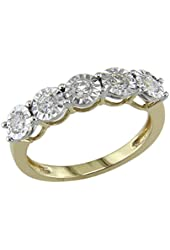 0.50 Ct 5 Cubic Zirconia Stone Wedding Band Anniversary Ring Solid 14k Yellow Gold Plated Alloy