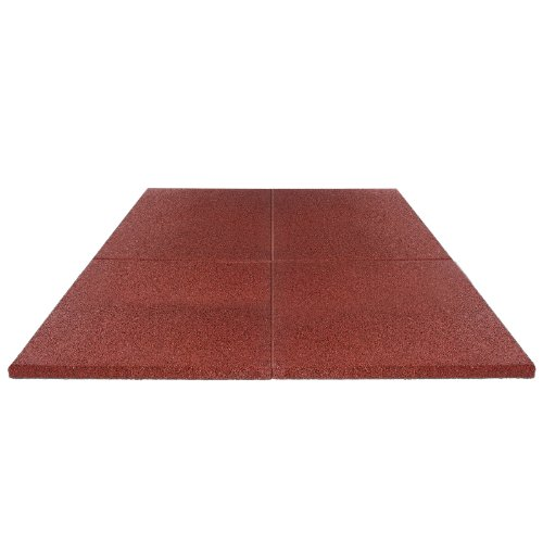 Soft & Safe Rubber Safety Mat Set Play-Protect - 1 sqm - 25mm thick - red