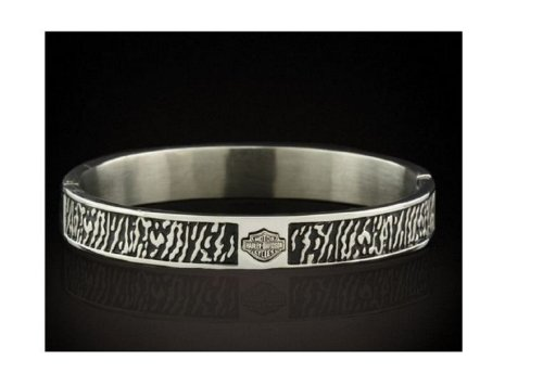 Harley-Davidson® Stamper® Women's Stainless Steel Bangle Bracelet. 8.25-Inches. STB1588-8.25