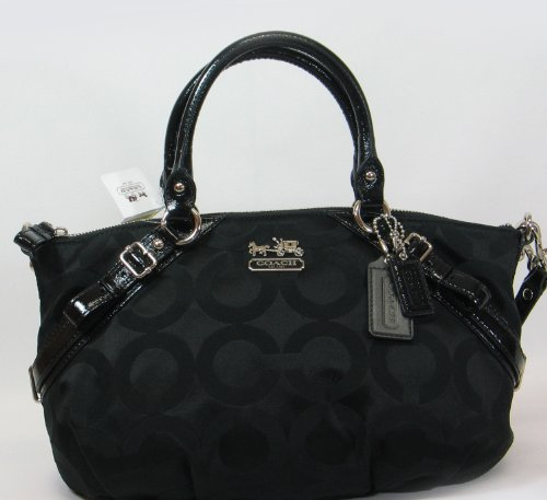 Coach 17693 Black Madison Op Art Sateen Sophia Satchel