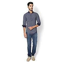 STRAK Mens' Pure Cotton Grassy Blue Abstract Designer Boat Curve Style Shirt With Full Sleeve Size:-L/42