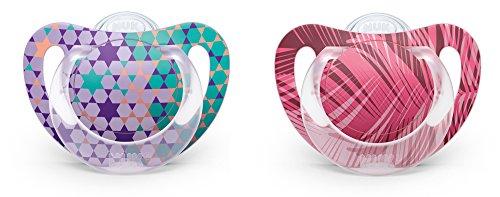 NUK 10175109 Genius Color Silikon-Schnuller, zahnfreundlich, Größe 1 (0-6 Monate), BPA-frei, 2 Stück, Girl