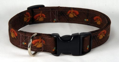 Thanksgiving Turkey Brown Designer Dog Collar, Large