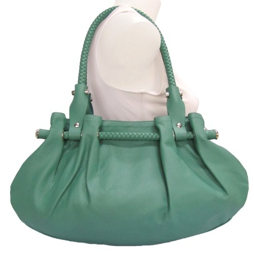 Braided Satchel Hobo Handbag (Blue Green)
