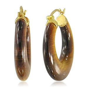Yellow Gold Overlay Sterling Silver Tiger Eye Hoop Earrings