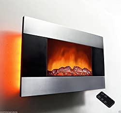AKDY 36 inch Wall Mount Modern Space Heater Electric Fireplace Tempered Glass W/Remote Control AX-510DLB by AKDY