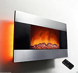 Akdy 36 Inch Wall Mount Modern Space Heater Electric Fireplace Tempered Glass W