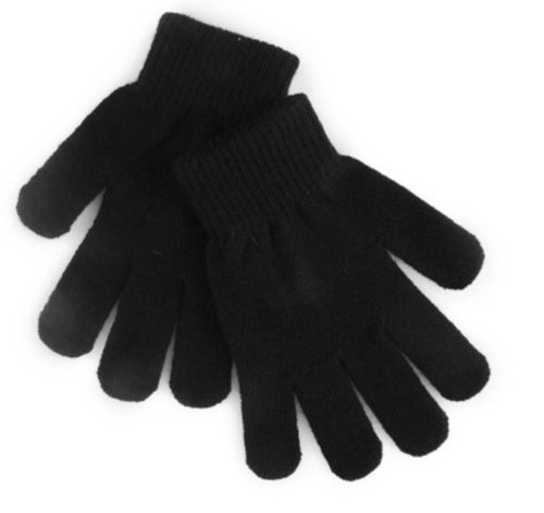 12 Pairs Childrens Black Magic Winter Gloves - One Size