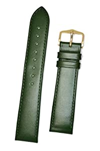 HIRSCH Osiris L, Italian Calf Leather Watch Strap in Green, 18 mm, Gold Buckle