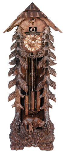 River City Clocks GRANDFATHER-BEAR Eight Day Chiming Grandfather Cuckoo Clock with Hand-Carved Trees And Bear Family