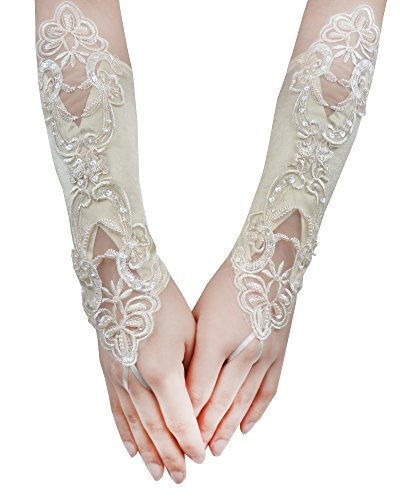 JISEN Lady Banquet Party Fingerless Sexy Elegant Lace Embroidered Bridal Gloves 11