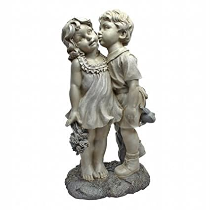 Cute Children Statues for Garden Boy and Girl Best Friends