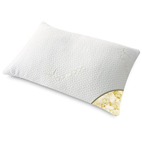 LANGRIA Hypoallergenic Ultra Plush Shredded Memory Foam Pillow with Zippered Bamboo Cover for Optimal Comfort Support (White, Queen)