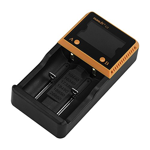 Rechargeable Batteries Charger, LingsFire 2 Bay/Slot Smart Rechargeable Battery Charger with Wall Adapter and Car Charger for 26650 18650 18490 17335 16340 10440 Ni-MH Ni-CD Rechargeable Batteries (Wall Auto Battery Charger compare prices)