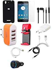 NIROSHA Tempered Glass Screen Guard Cover Case Charger Headphone USB Cable Mobile Holder Combo for YU Yureka Combo