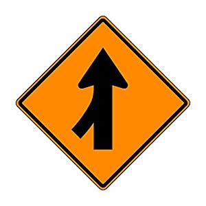 MUTCD W4-1L Left Merge Ahead Sign, Orange,3M Reflective Sheeting, Highest Gauge Aluminum,Laminated, UV Protected, Made in U.S.A