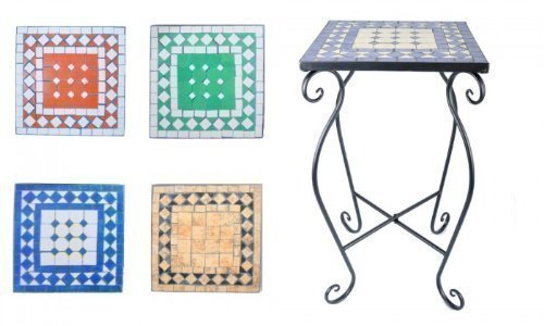 Mosaiktisch in verschiedenen Formen/Farben, Formen:Eckig;Farbe:Terrakotta