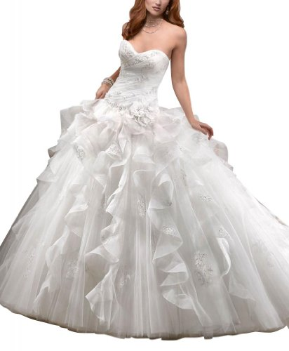 GEORGE BRIDE Luxury Tull Over Satin Ball Gown With Tiered Organza Wedding Dress Size 18 Ivory