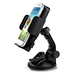 """iClever ICH02 360 Degree Rotation Universal Windshield & Dashboard Car Mount Cradle Holder for Samsung Galaxy Note 3 /Note 2, Galaxy S4/S3/S2, Galaxy Mega, HTC One, Google Nexus 4/Nexus 5, BlackBerry Z10/Z30, LG Optimus G, Motorola Moto X/Moto G/Droid Maxx/Droid Ultra, Sony Xperia Z1, GPS and some Tablets(2.28""""-4.72"""" Extendable) - Black"""