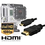 LuxeBell® Micro HDMI pour GoPro Hero 4 / Gopro Hero 3+ / Gopro Hero 3 - Cable Micro HDMI Version 1.4 - longeur 1,5 mètre - Type D Blindé - Highspeed - Qualité Full HD - Plaqué or