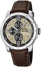 Comprar Festina Sport Multifunktion F16585/6 - Reloj analógico de cuarzo para hombre, correa de cuero color marrón (agujas luminiscentes)