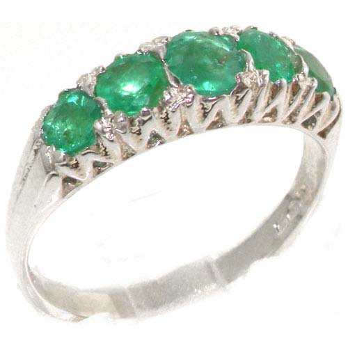 Solid English Sterling Silver Natural Emerald Vintage Style Eternity Ring - Size 11.25 - Finger Sizes 4 to 12 Available - Suitable as an Anniversary ring, Engagement ring, Eternity ring, or Promise ring