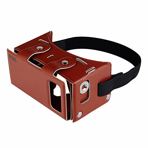 TOCHIC 3D VR Glasses DIY PU Leather Material with Elastic Headband for 3.5 - 5.5 inch Phones - Brown