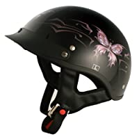 VCAN V531 Cruiser Intricate Butterfly Half Helmet (Gloss Black, Small) by VCAN