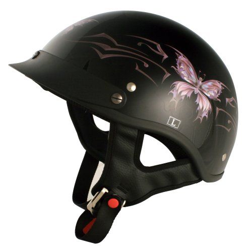 VCAN V531 Cruiser Intricate Butterfly Half Helmet (Gloss Black, X-Small)