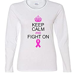 Keep Calm And Fight On Support Ladies Missy Fit long sleeve T-Shirt