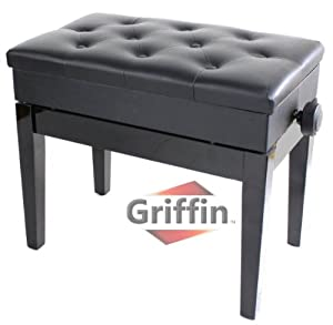 Ebony Black Leather Piano Bench Wood Adjustable Keyboard Seat with Storage Griffin