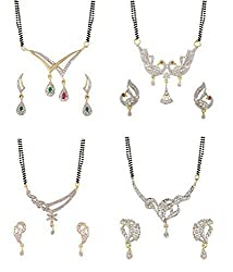 Youbella White American Diamond Combo Of 4 Mangalsutra With Earrings Set For Women
