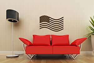Us american flag in the wind wall vinyl decals art sticker for American flag bedroom ideas