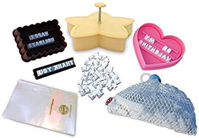 Cookie Imprinter - Customizable Alphabet Cookie Cutters Set with Separate Letter Stamp and Treat Bags - Create Personalized Messages in Cookies