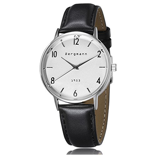 Bergmann Brand Vintage Mens Watches Silver Dial Black Leather Wrist Watch Classic 1953