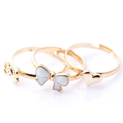 Multicolor Bow Heart Knuckle Rhinestone Midi Mid Finger Tip Stacking Rings X3
