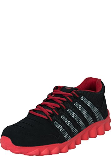 Zovi Men's Jet Black And Red Mesh Sports Shoes With Stylized Soles (A137SHM514602) -6 UK (multicolor)