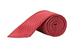 TIE & CUFFS Combo Of Red Micro Fibre Formal Neck Tie, Pocket Square And Cufflink