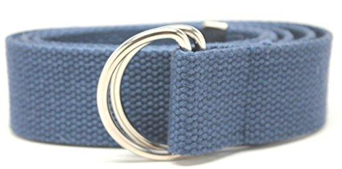 "Deal Fashionista D Ring 1.25"" Webbed Cotton Canvas Belt NAVY BLUE 3XL 55"""
