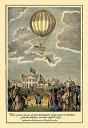 30 x 20 Canvas. Ascent of Lunardi\'s Balloon - Graphic representaion of a Balloon\'s ascension