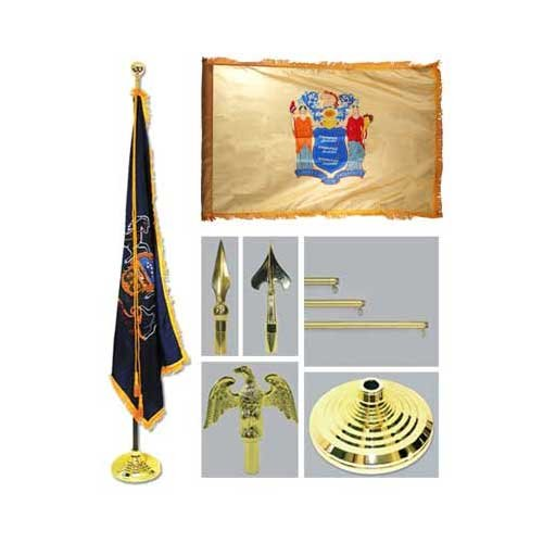 New Jersey 4Ft X 6Ft Flag Telescoping Flagpole Base And Tassel